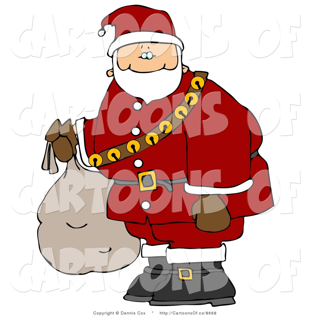 Bag Of Toys : Cartoon illustration of a caucasian santa claus carrying