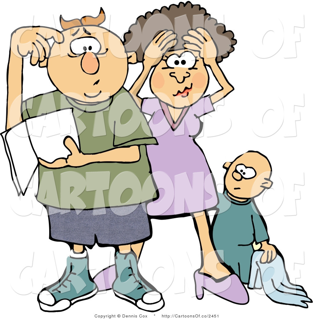 Cartoon Illustration of a Confused Mom and Dad Trying to ...