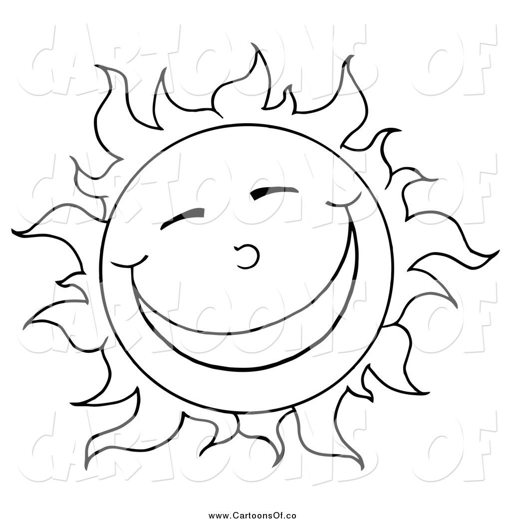 vector illustration of a black and white sun smiling by hit toon