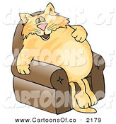 Cartoon Illustration of a Anthropomorphic Chubby Cat Napping on a Recliner Chair by Djart