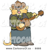 Cartoon Illustration of a Anthropomorphic Cowboy Cat Playing Country Music on an Acoustic Guitar, on White by Djart