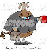 Cartoon Illustration of a Business Cow Holding out a Coffee Cup by Djart