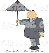 Cartoon Illustration of a Businessman Taking Precautions and Standing Outside Under an Umbrella in Rainy Weather by Djart
