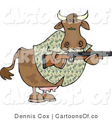 Cartoon Illustration of a Camouflaged Hunter Cow by Djart