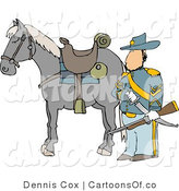 Cartoon Illustration of a Caucasian Armed Union Soldier Standing Beside His Horse on a Battlefield by Djart