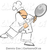 Cartoon Illustration of a Caucasian Male Cook Carrying a Big Metal Spoon by Djart