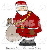 Cartoon Illustration of a Caucasian Santa Claus Carrying Bag of Toys by Djart