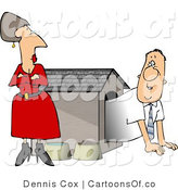 Cartoon Illustration of a Cautious Hubby Emerging from a Dog House by His Wife by Djart