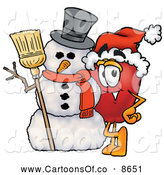 Cartoon Illustration of a Cheerful Red Apple Character Mascot Leaning on a Snowman on Christmas by Toons4Biz