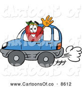 July 14th, 2013: Cartoon Illustration of a Cheerful Red Apple Character Mascot Waving While Driving by in a Blue Car by Toons4Biz