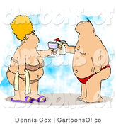 Cartoon Illustration of a Chubby Honeymooning Husband and Wife Vacationing at the Beach by Djart
