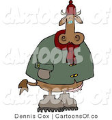 Cartoon Illustration of a Cold Cow Wearing a Coat and Hat by Djart