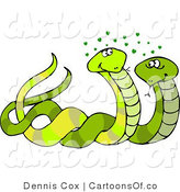 Cartoon Illustration of a Couple of Male and Female Snakes Mating by Djart