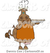 Cartoon Illustration of a Cow Baker with a Pie by Djart