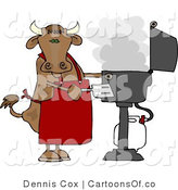 Cartoon Illustration of a Cow Chef Barbecuing by Djart