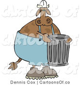 Cartoon Illustration of a Cow Garbage Worker by Djart