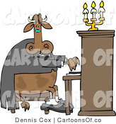 Cartoon Illustration of a Cow Piano Player by Djart