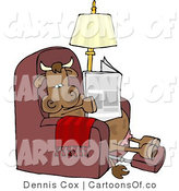 Cartoon Illustration of a Cow Reading a Newspaper with His Feet up by Djart