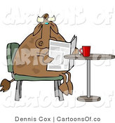 Cartoon Illustration of a Cow Reading the Newspaper with Coffee by Djart