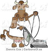 Cartoon Illustration of a Cow Vacuuming by Djart