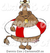 Cartoon Illustration of a Cow Wearing a Life Buoy by Djart