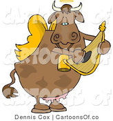 Cartoon Illustration of a Cupid Cow Playing Lyre by Djart