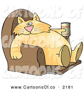 Cartoon Illustration of a Cute and Funny Human-like Cat Sitting on a Recliner Chair with a Can of Beer by Djart