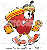 Cartoon Illustration of a Cute Red Apple Character Mascot Speed Walking or Jogging by Toons4Biz