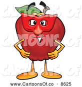 Cartoon Illustration of a Cute Red Apple Character Mascot Wearing a Red Mask on Halloween by Toons4Biz