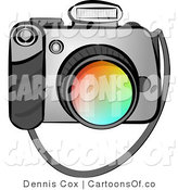 Cartoon Illustration of a Digital SLR Camera and Flash by Djart