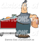 Cartoon Illustration of a Fat Man Shopping for Underwears by Djart