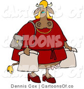 Cartoon Illustration of a Female Cow Shopper by Djart