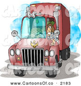 Cartoon Illustration of a Female Trucker Driving an 18-Wheeler Big Rig Red Truck by Djart