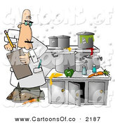 Cartoon Illustration of a Food Health Inspector Inspecting a Filthy, Dirty Kitchen at a Restaurant by Djart