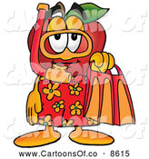 July 12nd, 2013: Cartoon Illustration of a Friendly Red Apple Character Mascot in Orange and Yellow Snorkel Gear by Toons4Biz