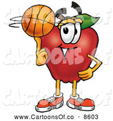 Cartoon Illustration of a Grinning Red Apple Character Mascot Spinning a Basketball on His Finger by Toons4Biz