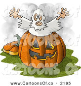 Cartoon Illustration of a Halloween Ghost Costume Man Jumping out of a Pumpkin Jack O Lantern by Djart