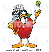 July 6th, 2013: Cartoon Illustration of a Happy Red Apple Character Mascot Preparing to Hit a Tennis Ball by Toons4Biz
