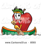 Cartoon Illustration of a Happy Red Apple Character Mascot Rowing a Boat by Toons4Biz