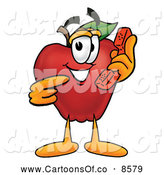Cartoon Illustration of a Happy Red Apple Character Mascot Talking on a Telephone by Toons4Biz