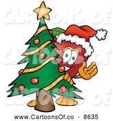 July 1st, 2013: Cartoon Illustration of a Happy Red Apple Character Mascot with a Decorated Christmas Tree by Toons4Biz