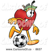 July 2nd, 2013: Cartoon Illustration of a Healthy Red Apple Character Mascot Kicking a Soccer Ball by Toons4Biz