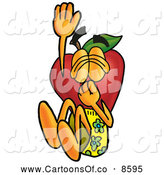 Cartoon Illustration of a Healthy Red Apple Character Mascot Plugging His Nose While Jumping into Water by Toons4Biz