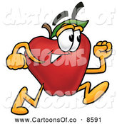 Cartoon Illustration of a Healthy Red Apple Character Mascot Running in a Hurry by Toons4Biz