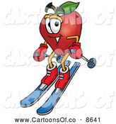 June 29th, 2013: Cartoon Illustration of a Healthy Red Apple Character Mascot Skiing Downhill by Toons4Biz