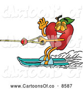 Cartoon Illustration of a Healthy Red Apple Character Mascot Waving and Water Skiing by Toons4Biz