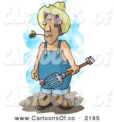 Cartoon Illustration of a Hillbilly Farmer with a Pitchfork Wearing Coveralls and a Cowboy Hat by Djart