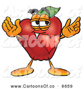 Cartoon Illustration of a Infatuated Red Apple Character Mascot with His Heart Beating out of His Chest and Eyebrows Raised by Toons4Biz