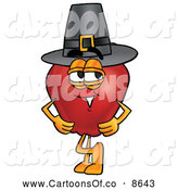 June 26th, 2013: Cartoon Illustration of a Jolly Red Apple Character Mascot Wearing a Pilgrim Hat While Celebrating Thanksgiving by Toons4Biz
