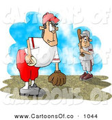 June 2nd, 2013: Cartoon Illustration of a Little League Baseball Pitcher and Batter Waiting for the Game to Start by Djart